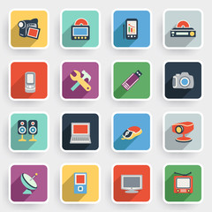 Electronics modern flat icons with color buttons