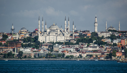 Blue Mosque and architecture Istanbul, view from Bosphorus strait. Turkey