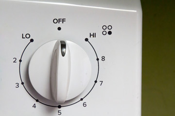 White knob on an electric oven