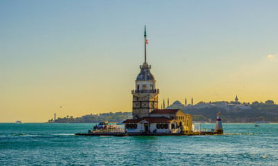 Panorama view of Maiden's tower from shore, Istanbul, Turkey