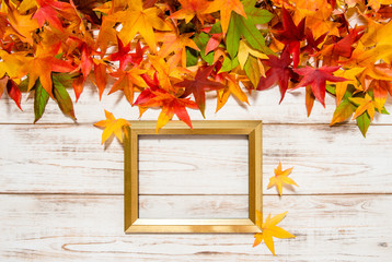 Autumn leaves and golden frame on wooden background