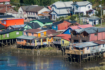 Palafitos (stilt houses) in Castro, Chiloe island, Chile