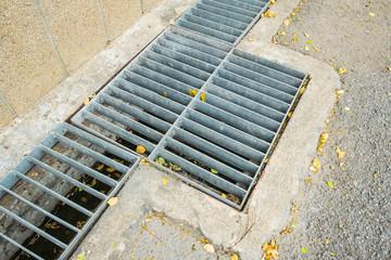 steel drainage of the asphalt road