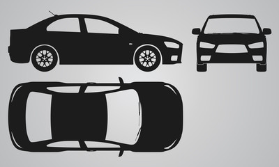 Front, top and side car projection. Flat illustration
