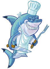 Mean Cartoon Shark Chef with Barbecue Utensils