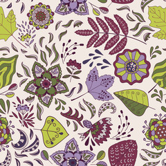 Cute seamless pattern with flowers and leaves. Vector background.