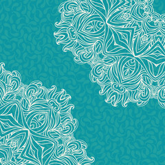 Beautiful invitation. Vector background with a round ornament on seamless blue background with small paisley.
