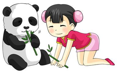 cartoon Chinese girl in cheongsam feeding baby pet Panda bear with bamboo leaves, create by vector