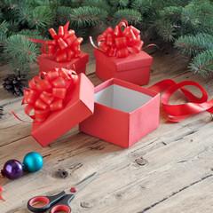 empty open Christmas gift box
