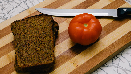 Bread, Tomato And Knife