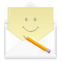 envelope with drawing smile face symbol