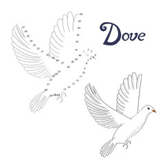 Educational game connect dots to draw dove bird