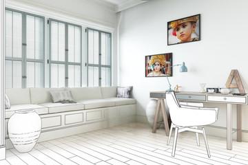 Weißer Raum mit Schreibtisch (Entwurf)