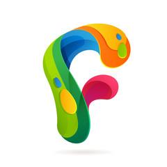 F letter volume colorful logo with splash.