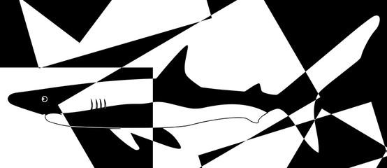 Requin puzzle en noir et en blanc