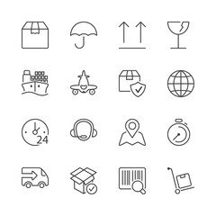 thin line iconset logistics