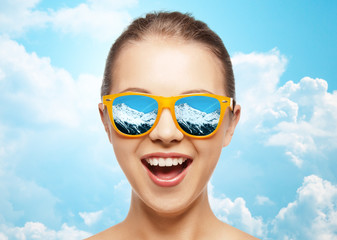 happy face of teenage girl in sunglasses