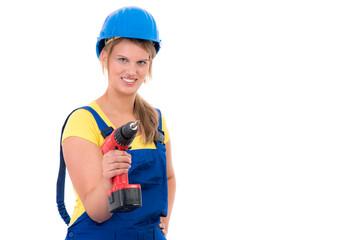 junge handwerkerin mit werkzeug