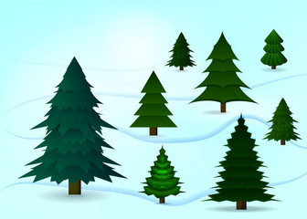 Christmas tree set on the snow. Light blue background