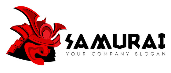 Samurai face mask vector logo template
