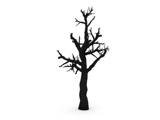 Tree without leafs rendered isolated on white background