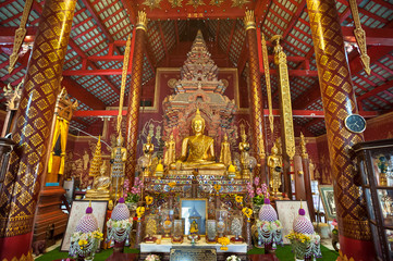 Ornate interior of Wat Chiang Man, the oldest temple in Chiang Mai, Thailand