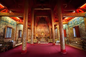 Interior shot of Wihan Lai Kham at Wat Phra Singh, Chiang Mai, Thailand