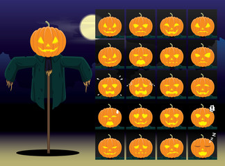 Pumpkin Scarecrow Cartoon Emotion faces Vector Illustration