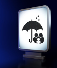 Security concept: Family And Umbrella on billboard background