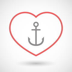 Line heart icon with an anchor