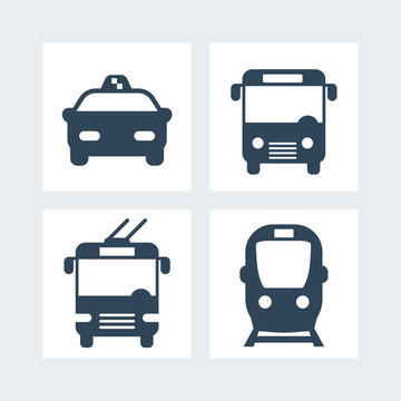 City transport simple icons, vector illustration