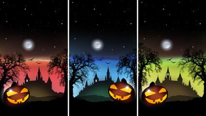 Halloween Spukschloß mit Kürbis