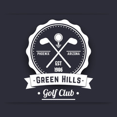 Golf club vintage white logo, emblem, sign, crossed golf clubs and ball, vector illustration