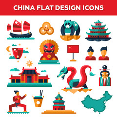 Set of flat design China travel icons, infographics elements