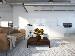 Modern loft with a kitchen .3d rendering