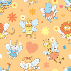 Vector seamless pattern with fairies elephants, hippopotamus,  giraffes, dogs, cats, rabbit  and lions  on a orange background.