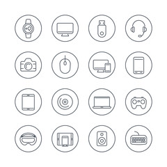 Modern gadgets line icons in circles, vector illustration