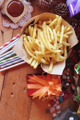 Gift boxes and french fries to celebrate Christmas.