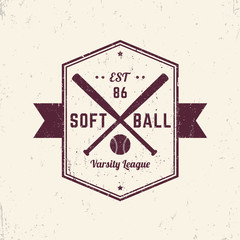 Softball vintage grunge emblem, logo, sign, t-shirt design, print, vector illustration