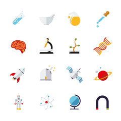 Science and research icons vector set. Collection of 16 flat design science and research themed vector icons
