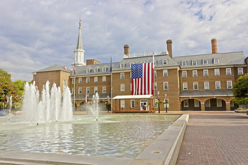 View of Alexandria City Hall, Market Square & it's central fountain, King Street, Old Town Alexandria, Virginia