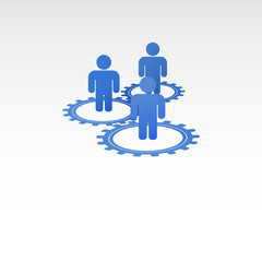 Stick figures of people in the gears. Interaction between employ