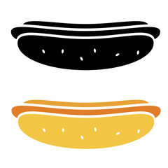 Vector hot dog icon isolated on white background