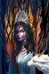 illustration mystical forest with a goat and the Snow Queen