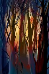 illustration mystical forest