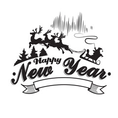 Vintage Happy New Year label, badges and design elements. Vector illustration