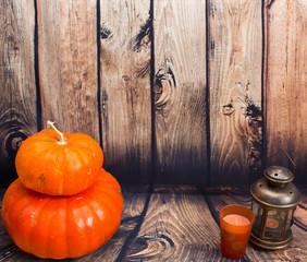 Pumpkin on the woodern floor