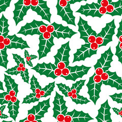 Holly Christmas plant pattern for seamless background.