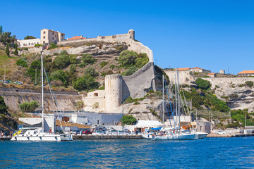 Wall Murals Northern Europe Cityscape of Bonifacio, Corsica. Moored yachts