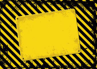 danger background and skewed plaque